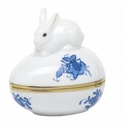 Herend Porcelain Chinese Bouquet Blue Egg Bonbon with Bunny 3L X 3H