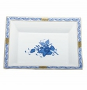 Herend Porcelain Chinese Bouquet Blue Jewelry Tray 7.5L X 6.25W