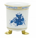 Herend Porcelain Chinese Bouquet Blue Mini Cachepot with Feet 3.75L X 4H