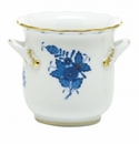 Herend Porcelain Chinese Bouquet Blue Mini Cachepot with Handles 4.75L X 3.75H