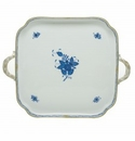 Herend Porcelain Chinese Bouquet Blue Square Tray with Handles 12.75L X 12.75W