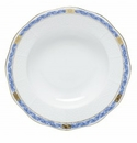 Herend Porcelain Chinese Bouquet Garland Blue Rim Soup Plate 8D - Blue