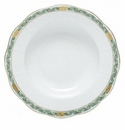 Herend Porcelain Chinese Bouquet Garland Green Rim Soup Plate 8D - Green
