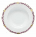 Herend Porcelain Chinese Bouquet Garland Pink Rim Soup Plate 8D - Raspberry