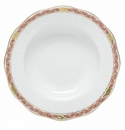 Herend Porcelain Chinese Bouquet Garland Rust Rim Soup Plate 8D - Rust