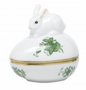Herend Porcelain Chinese Bouquet Green Egg Bonbon with Bunny 3L X 3H
