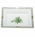 Herend Porcelain Chinese Bouquet Green Jewelry Tray 7.5L X 6.25W