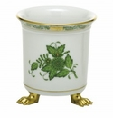 Herend Porcelain Chinese Bouquet Green Mini Cachepot with Feet 3.75L X 4H