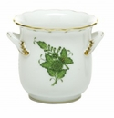 Herend Porcelain Chinese Bouquet Green Mini Cachepot with Handles 4.75L X 3.75H
