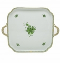 Herend Porcelain Chinese Bouquet Green Square Tray with Handles 12.75L X 12.75W