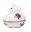 Herend Porcelain Chinese Bouquet Raspberry Egg Bonbon with Bunny 3L X 3H