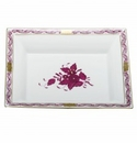 Herend Porcelain Chinese Bouquet Raspberry Jewelry Tray 7.5L X 6.25W
