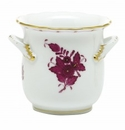 Herend Porcelain Chinese Bouquet Raspberry Mini Cachepot with Handles 4.75L X 3.75H