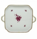 Herend Porcelain Chinese Bouquet Raspberry Square Tray with Handles 12.75L X 12.75W