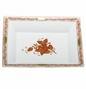 Herend Porcelain Chinese Bouquet Rust Jewelry Tray 7.5L X 6.25W
