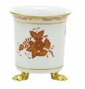 Herend Porcelain Chinese Bouquet Rust Mini Cachepot with Feet 3.75L X 4H