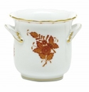 Herend Porcelain Chinese Bouquet Rust Mini Cachepot with Handles 4.75L X 3.75H
