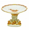 Herend Porcelain Chinese Bouquet Rust Shell With Dolphin Stand 4H X 6D