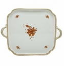 Herend Porcelain Chinese Bouquet Rust Square Tray with Handles 12.75L X 12.75W
