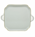 Herend Porcelain Golden Edge Square Tray with Handles 12.75L X 12.75W