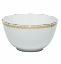 Herend Porcelain Golden Laurel Round Open Vegetable Bowl 7.5D
