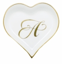 Herend Porcelain Heart Tray with A Monogram 4L X 4W