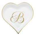 Herend Porcelain Heart Tray with B Monogram 4L X 4W