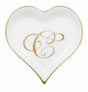 Herend Porcelain Heart Tray with C Monogram 4L X 4W