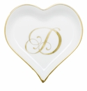 Herend Porcelain Heart Tray with D Monogram 4L X 4W
