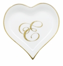 Herend Porcelain Heart Tray with E Monogram 4L X 4W