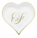 Herend Porcelain Heart Tray with F Monogram 4L X 4W