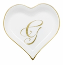 Herend Porcelain Heart Tray with G Monogram 4L X 4W