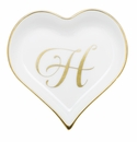Herend Porcelain Heart Tray with H Monogram 4L X 4W
