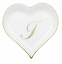 Herend Porcelain Heart Tray with I Monogram 4L X 4W