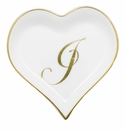 Herend Porcelain Heart Tray with J Monogram 4L X 4W