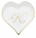 Herend Porcelain Heart Tray with K Monogram 4L X 4W