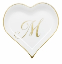 Herend Porcelain Heart Tray with M Monogram 4L X 4W
