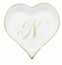 Herend Porcelain Heart Tray with N Monogram 4L X 4W