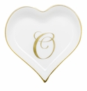 Herend Porcelain Heart Tray with O Monogram 4L X 4W
