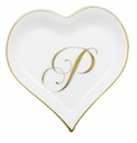 Herend Porcelain Heart Tray with P Monogram 4L X 4W