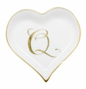 Herend Porcelain Heart Tray with Q Monogram 4L X 4W