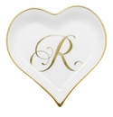 Herend Porcelain Heart Tray with R Monogram 4L X 4W