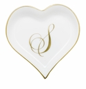 Herend Porcelain Heart Tray with S Monogram 4L X 4W