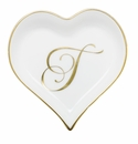 Herend Porcelain Heart Tray with T Monogram 4L X 4W