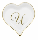 Herend Porcelain Heart Tray with U Monogram 4L X 4W