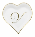 Herend Porcelain Heart Tray with V Monogram 4L X 4W