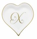 Herend Porcelain Heart Tray with X Monogram 4L X 4W