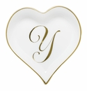 Herend Porcelain Heart Tray with Y Monogram 4L X 4W