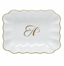 Herend Porcelain Oblong Dish with A Monogram 7.25L X 5.5W