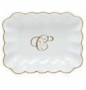 Herend Porcelain Oblong Dish with C Monogram 7.25L X 5.5W
